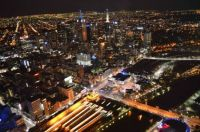 View of Melbourne at night from the Eureka Skydeck, Aus,