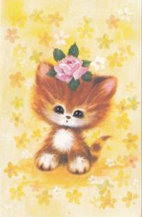 Postcard & envelope pictures 008 - Cat and the flower