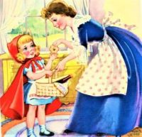 Themes Vintage illustrations/pictures - Mother Giving Cookies to Little Red Riding Hood