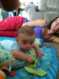 Jack relaxing with mom
