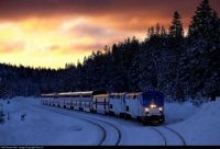 Amtrak's eastbound California Zephyr passes through Soda Springs