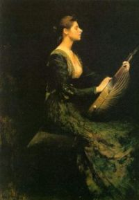 Thomas Wilmer Dewing 1886 Lady with a lute