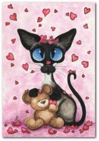Chat Siamois Valentine Love Be Mine Bear