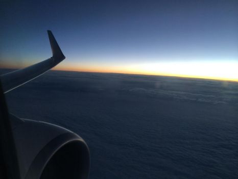 flying on a airplane
