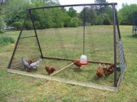 chicken house made from an old swing set.