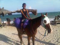 On the beach in Jamaica