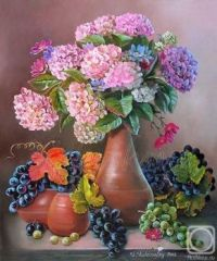 Hydrangeas and grapes