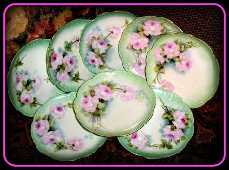 Pinknblack from the Past ~ Eight Limoges plates ~ hand painted with a slightly different pattern on each