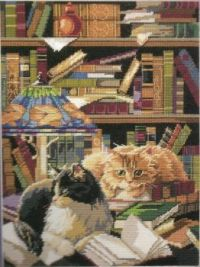 friends of thelibrary cats needlepoint