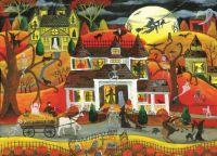 Sunsout Puzzles-halloweenfrightnightcat