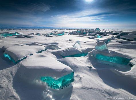 The crystal clear ice of Baikal
