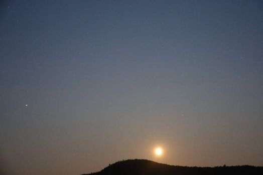 Full moon and two planets