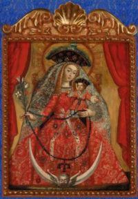 """""""Our Lady of the Rosary as a Pilgrim"""", unknown artist, Peruvian School, 18th Century"""