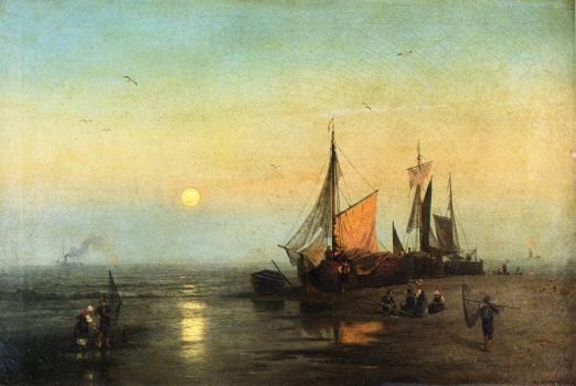 moonlit Fishing Scene by Hernann Ottomar Herzog
