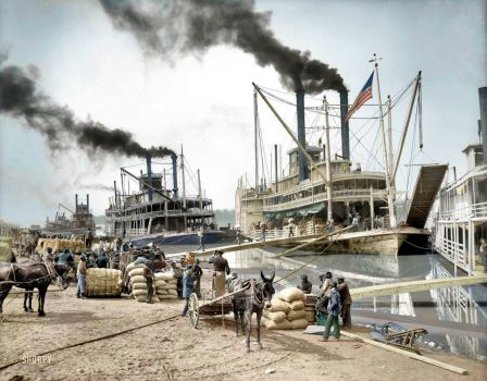 Steamboats in the Mississippi river, 1907.