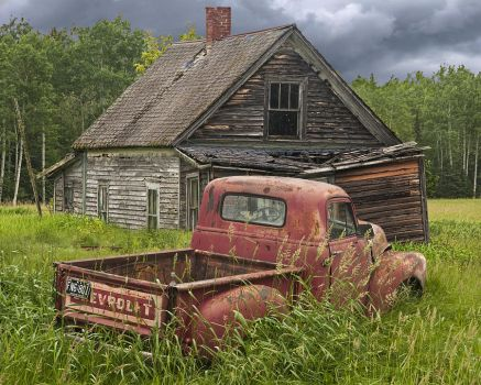 Old Abandoned Homestead And Truck