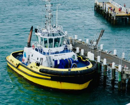 Yellow Hull Work Boat