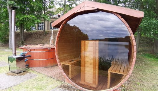 A sauna with a view