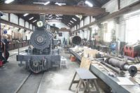 Brecon Mountain Railway 25-04-2019 workshop 15511 American Baldwin Locomotive 1897 horizontal panorama 01