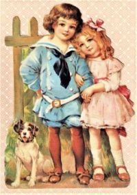 Themes Vintage illustrations/pictures - Victorian children with a cute dog
