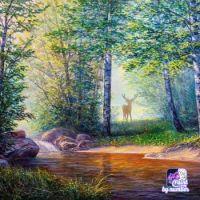 Cerf forêt rivière