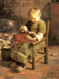 'Meal Time For Dolly', A Painting by Evert Pieters