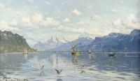 "Peder Mørk Mønsted,  ""Lake Geneva"", 1887"