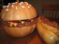A hamburger and chili dog for fall