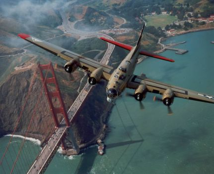 B-17 over Golden Gate Bridge