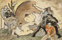 Men Pushing A Boulder by Bob Brown