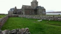 Iona Abbey with John Smith's grave in the foreground