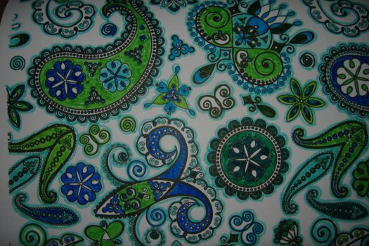 Zentangle - Blue & Green Paisley