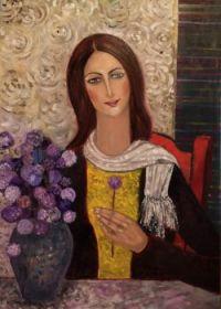 Lady arranging her Flowers at Home   - Krystyna Ruminkiewicz
