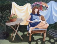 """""""Reading In The April Sunshine"""",  By Artist Lucy Almey Bird"""
