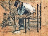 Vincent van Gogh (Dutch, 1853–1890), Peasant Sitting by the Fireplace (Worn Out) (1881)