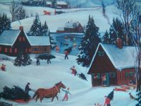 Old country winter scene, 63 pieces