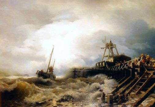 A Fishing Boat Caught in a Squall of a Jetty, 1865 by Andreas Achenbach
