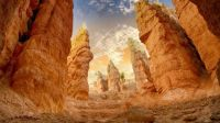 Spire-shaped rock formations in Bryce Canyon National Park, Utah