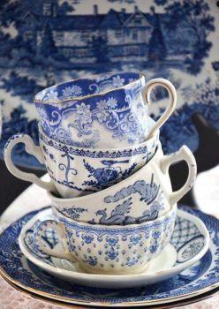 Blue Patterned Tea Cups