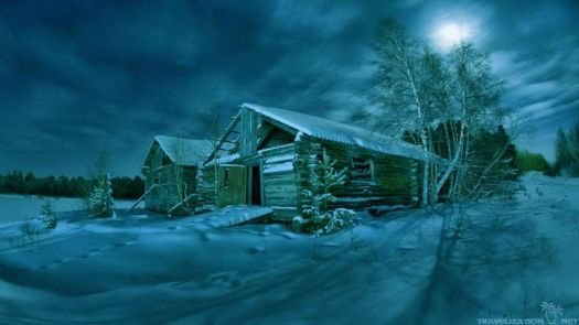 Winter Cabin at Night