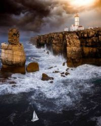 Rocky waters on Peniche Coastline, Portugal.