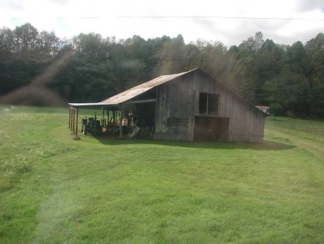 Old Barn...Sorry about the reflection..We were on a train