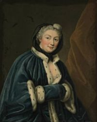 Portrait of a lady, half-length, in an ermine trimmed blue velvet mantle and muff circle of François-Hubert Drouais