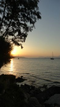 Sunset at an island