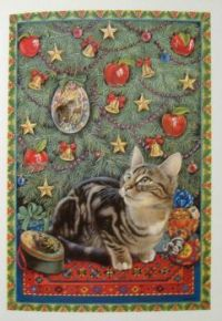 Art - Book - Lesley Anne Ivory Christmas Cats - Octopussy & His Christmas Decoration