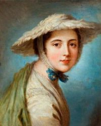 Head of a Girl Wearing a White Hat  by William Hoare