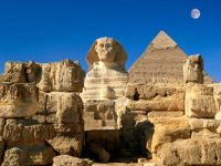 Egypt - Great sphinx, Chephren pyramid, Giza
