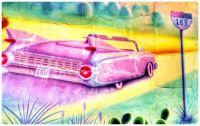 Pink Caddy Wall Art Graffiti