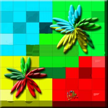 Bright Colored/Coloured Squares With A Twist .... (36 Pieces)... :) :)