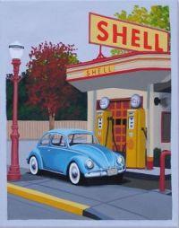 Original Painting Vintage Gas Station VW Bug